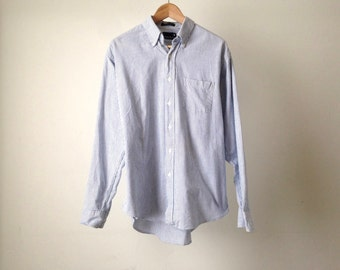 striped men's CHAMBRAY faded striped blue COTTON button up shirt LONG sleeve