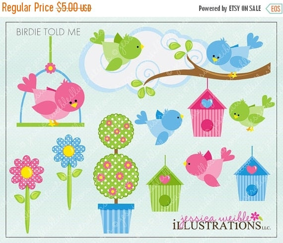 ON SALE Birdie Told Me Cute Digital Clipart for Card Design, Scrapbooking, and Web Design