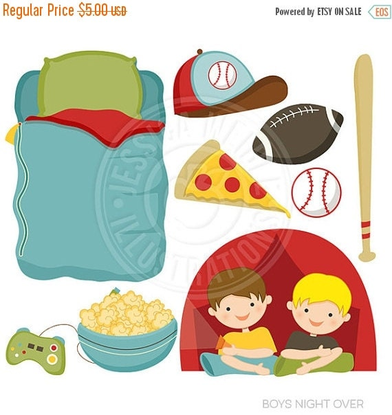ON SALE Boys Night Over Cute Digital Clipart - Commercial Use OK - Boys Camping Out Clipart, Sleeping Bag, Tent