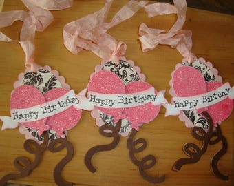 birthday gift tags for friend shabby pink and black floral paper art tags party favor tags balloon tags gift wrapping embellishments