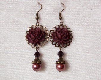 Burgundy Red Earrings, Rose Earrings, Dangle Earrings, Victorian Earrings, Brass Earrings, Brass Filigree Earrings, Blood Red Crystal