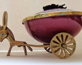 FREE Shipping Vintage TAMAR Brass and Enamel Donkey Cart Mid Century Modern Israel Collectible Lidded Bowl