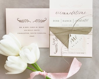 Fern Calligraphy Wedding Invitation Suite with Twine Tie and Monogram Tag - Champagne Gold, Ivory and Blush Pink (colors/text customizable)