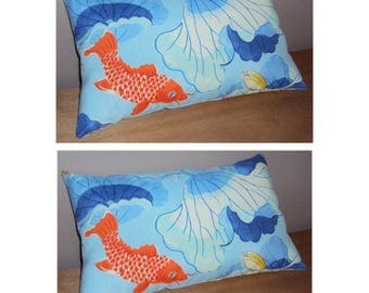 Two Decorative Indoor Outdoor Orange and Blue Koi Lumbar Pillows