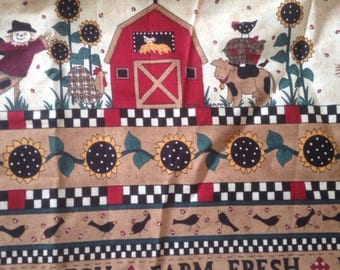 Farm Barn Barnyard Cotton Quilting Fabric Scarecrow Cow Chickens Sunflowers Crows
