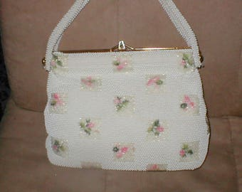 Vintage White with Pastels Beaded Hand Bag Large Purse