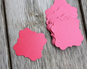 12 Shimmery Red Tags Invitation Card Making Die Cut Embellishments - Great for gifts or Belly Bands - shimmery or matte cardstock