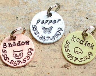 Small pet tag / cat tag / dog tag / toy breed dog / metal pet tag / hand stamped / not engraved / handmade pet products / kitten tag A041
