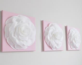 Decorative Floral Canvas Art Set,  Light Pink Nursery Wall Art - Accent Wall Art Set of 3 - Kitchen Decor - Light Pink and White Home Decor