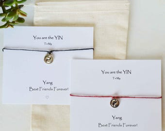 Best Friends Yin Yang adjustable bracelets set, BFF birthday, couples bracelets Yin Yang bracelets valentine BOHO, Yin Yang jewel