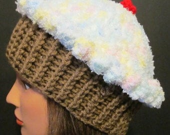 Crocheted Cupcake Hat ~ Varigated Pastel Top with Medium brown bottom ~ Adult Size