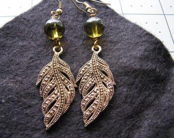 Leaf earrings gold | fern | green dangle | botanical | woodland | handmade | Final Sale