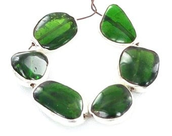 STERLING SILVER RIMMED Chrome Diopside Beads 7 Pcs NewWorldGems