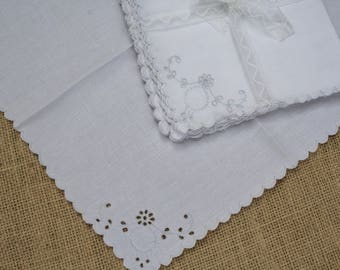 Vintage Madeira Cocktail Napkins White Embroidered Linen Set of 6 with Eyelets
