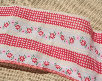 "Vintage Red Gingham Calico Fabric Trim 4"" Wide"