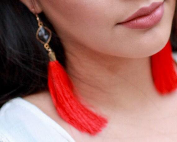 Long Red Tassel Earrings