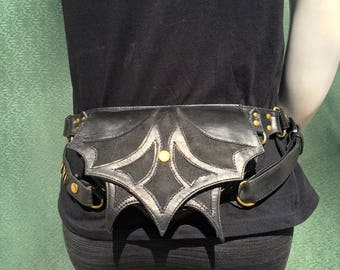 Pioneer Venus Black and antique brass Utility belt bag holster bandolier with removable straps and pockets