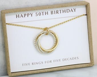 50th birthday gift, family of 5 linked circles necklace, 50th gift for wife - Lilia
