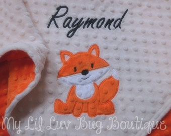 Large personalized baby blanket- ivory with orange and white baby fox- stroller blanket