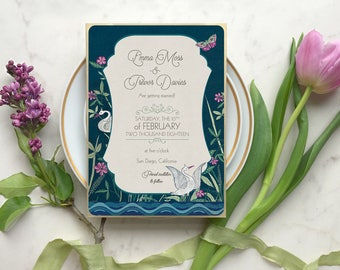Save the Date Invitations, Swan Wedding Invitaiton,  Blush and Navy Wedding Invitation, Save the Dates, Save the Date Cards, Swan Lake Theme