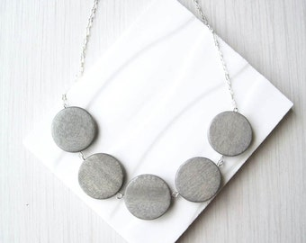 Grey Wood Necklace - 5th Anniversary Gift, Geometric Jewelry, Statement, Nickel Free Sterling Silver Option, Chunky