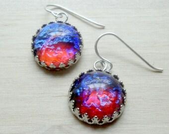 Fire Opal Earrings Dragons Breath Opal Earrings Gift for Mom Girlfriend Gift