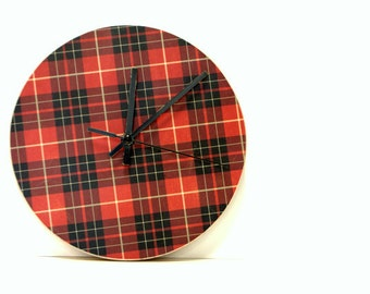 Mad For Plaid Wooden Clock, Wood Clock, Wall decor, Nursery, Baby's room, woodland, Red plaid, Hunter, Christmas, Camping, Outdoors man