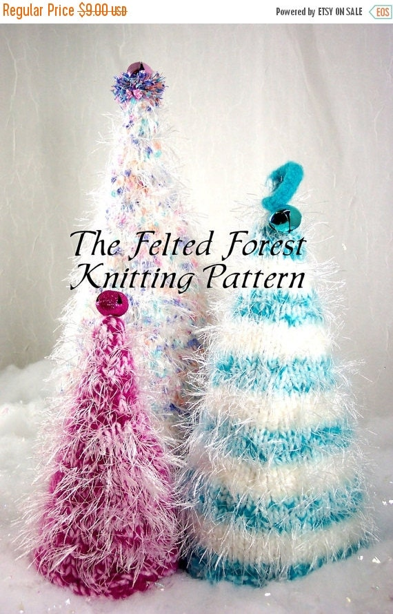 Holiday SALE Christmas Trees Knitting Pattern The Felted Forest PDF Pattern