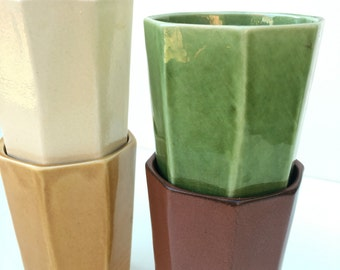 Small Ceramic Cups in Fall Colors Green Tan Maroon Gold