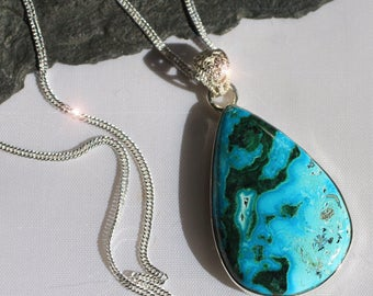 Earth and Sky - Beautiful Natural Chrysocolla and Malachite Sterling Silver Necklace