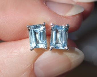 Artic Ice - Beautiful Faceted Emerald Cut Genuine Blue Topaz Sterling Silver Stud Earrings