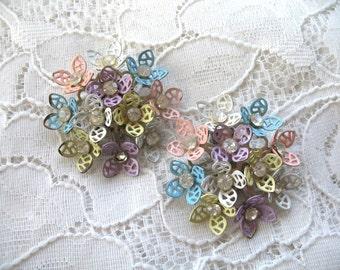 Vintage Enamel & Rhinestone Flower Earrings ~ Pink, yellow, blue, lavender, white ~ Clip On ~ Pastels