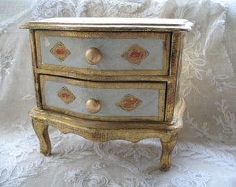 Vintage Florentine Jewelry Box ~ Turquoise/Gold Florentine Jewel Box ~ Made in Italy