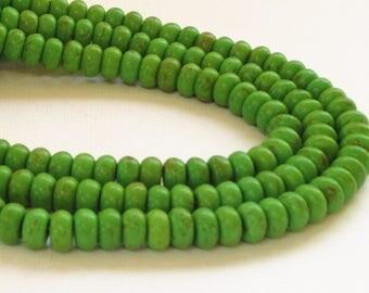 "Green Rondelle Beads -  Kelly Green Roundelle Howlite Beads - Dark Matrix Gemstone - 16"" Strand - 8mm - Center Drilled - Diy Jewelry Making"