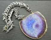Dragon Necklace Dragon Jewelry Agate Slice Necklace Agate Jewelry Game Of Thrones Geode Necklace Geode Jewelry Statement Necklace SilverGold