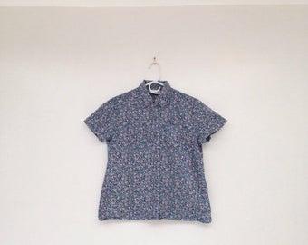 SALE Vintage 1990s Floral Denim Button Down Shirt