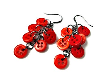 Upcycled Button Earrings, Red Dangle Earrings,  Repurposed Jewelry, Button Jewelry