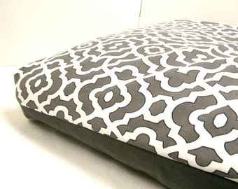Dog Bed Cover Crate Med Gray/White Home Decor with Med Gray Denim Reversible  19 x 30