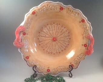Large salad bowl/salad bowl/wedding gift/orange pottery/pottery bowl/pasta bowl/wedding gift/red birds/orange pottery/serving bowl