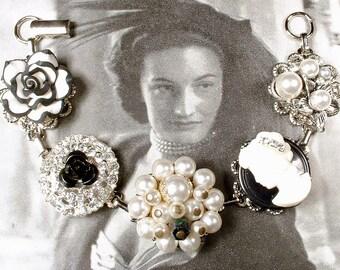 OOAK Black & Ivory Pearl, Rhinestone, Cameo Bridesmaids Bracelet, Vintage Cluster Earring Bracelet Silver Modern Wedding Gift Audrey Hepburn