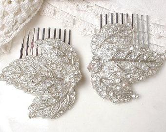 Antique Art Deco/Nouveau Bridal Hair Comb 1 or PAIR, Vintage Wedding Dress Clip Rhinestone Silver Leaf Hair Piece, 1920s Rustic Chic Country