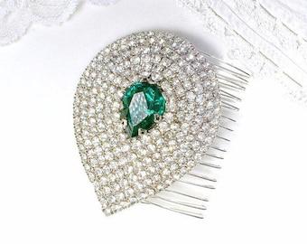 Old Hollywood Glam Emerald Bridal Hair Comb OR Dress Sash Brooch, Green Rhinestone Vintage Art Deco Silver Wedding Headpiece, Flapper Gatsby