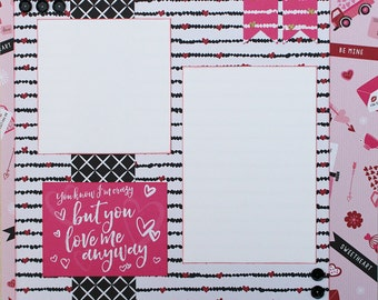 Love Me Basic Premade Scrapbook Page 12x12 Layout for Album