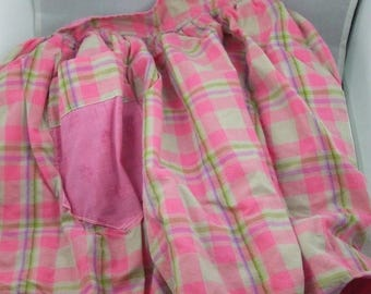 SALE 50% OFF Vintage Half Apron green and pink and green checked reversable