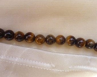 Bead, Tigereye, Gemstone, Natural, 6mm, Round, B Grade, Mohs hardness 7, Pack of 15 beads.