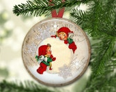 Christmas Elves decorations - Christmas elf ornaments for tree -  holiday magnet for kitchen - Christmas refrigerator magnets - MA-1336