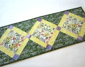 Spring Flowers Table Runner, Quilted Table Runner,  Handmade Table Runner, Tablerunner, Home Decor, Mother's Day Gift, Summer Decor