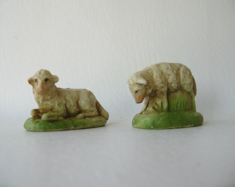 Vintage Plaster Lambs, TWO, Sheep, crèche, manger, Christmas