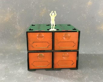 Vintage Metal Parts Drawers, dorman, green orange, small, 50s, industrial, office storage, decor
