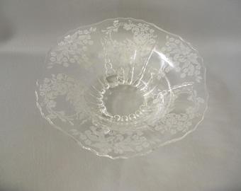 Vintage 3 Footed bowl, etched glass, clear, floral, New Martinsville Flower basket